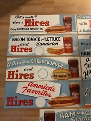 Vintage Nos And Mint C.1950 Hires Root Beer Diner Soda Fountain Paper Signs