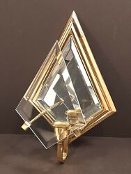 Partylite Infinity Sconce P0136 Solid Brass Beveled Glass Mirror Wall Décor
