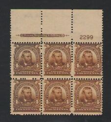 Us Stamp 303 Plate Block Of 6 4c Brown Mnh Og With Pfe Certificate
