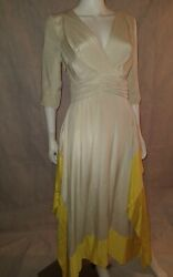 Chris Benz Beige And Canary Yellow Double Layered All Silk Deep Vneck Dress Sz 2