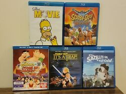 Lot Of 5 Movies - The Simpsons Movie, Family Guy It's A Trap, Scooby Blu-ray
