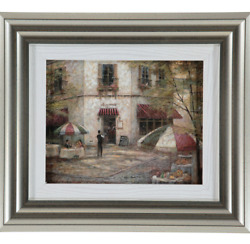 New Maggiano Cafe Art by RUANE MANNING 34x38cm Silver Frame Wall Decor Home Gift
