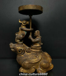 8 Zhan Dynasty Old Bronze Ware Palace People Beast Candle Holder Candlestick