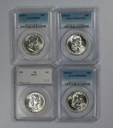 Lot Of 4 Pcgs And Other Franklin Half Dollars 1949 S, 1954 D 1955 1959 D