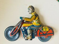 Ultra Rare Wind Up Jumping Motor Motorcycle With Ramp Rico 1930's Tin Antique Vi