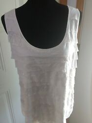 Relativity White Layers W/sequins Sleeveless Tank Top Size 2x