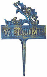 Novelties And Gifts 1257228 14 Tall Blue And Gold Cast Iron Welcome Sign With Sitti