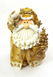 Novelties And Gifts 1256523c 8 Curly Beard Golden Resin Santa With Bell