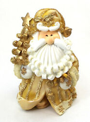 Novelties And Gifts 1256523a 8 Curly Beard Golden Resin Santa With Tree