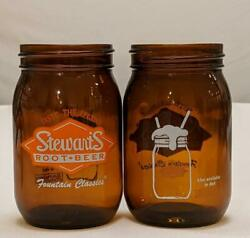 2 Vintage Stewart's Root Beer Amber Mason Jar Drinking Glass Fountain Classic