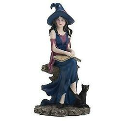 Lenox Book Of Witchcraft  Halloween Figurine Witch Black Cat  New In Box