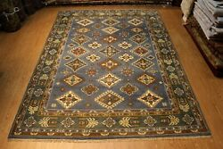 9' X 12' Handmade Hand-knotted Rug Natural Wool Brown Colors Blue