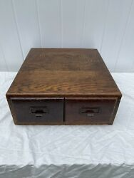 Antique Oak Two Drawer Library Card Catalog Tabletop File Cabinet