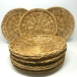 Lot Of 10 Vintage Bamboo Wicker Rattan Paper Plate Holders 11 Natural Color