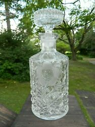 Vintage Liquor Decanter Clear Cut Glass Crystal Etched Flowers With Stopper