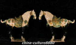 18.8 Old China Tang Sancai Pottery Gold Fengshui War Horse Success Statue Pair