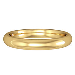Jewelco London 18ct Yellow Gold 3mm Court-shaped Wedding Band Commitment Ring