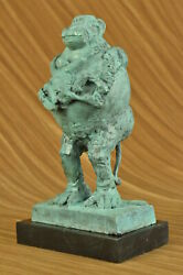 Hot Cast Green Patina Museum Quality Work Monkey Holding Baby Pablo Picasso Gift