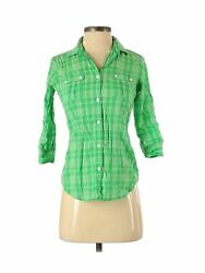 American Eagle Outfitters Women Green Long Sleeve Button-down Shirt 0