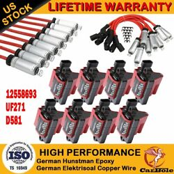 8 Pack Square Ignition Coils And Spark Plug Wire For Chevy Gmc 4.8l 5.3l 6.0l 8.1l