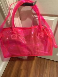beach bags clear pink blue and orange. Size is 44 25 19 cm $25.00