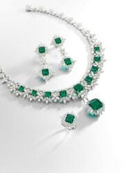 925 Sterling Silver Green Emerald Highend Necklace With Matching Earrings And Ring