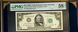 Series 1950d 50 Pmg58 Epq Choice About Unc Star Fed Res Note St. Louis 3743