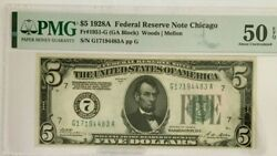 1928a 5 Pmg50 Epq Federal Reserve Note Chicago Bank Woods/mellon Fr1951-g