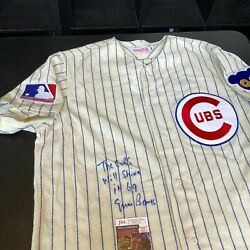 Ernie Banks The Cubs Will Shine In And03969 Signed Chicago Cubs Game Jersey Jsa Coa
