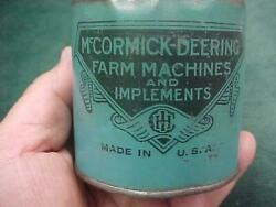 Antique Mccormick Deering Farm Machine Blue Oil Can Barkley Indiana Pa