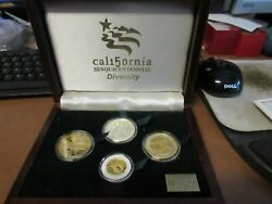 1999 California Sesquicentennial 4 Medal Set Diversity / Gold And Silver Proofs