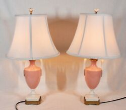 Rare Vintage Lenox China Pair Of Coral And Ivory Lamps With Shades And Finials