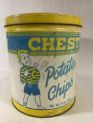 Chesty Potato Chip Tin 40th Anniversary Can Vintageterre Haute Indiana 1980s