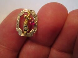 10k Gold Demolay Masonic Lapel Pin With Ruby - Sc-7a
