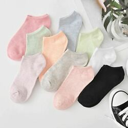 10 Pieces 5 Pairs Lot Fashion Colored Socks For Women And Girls Casual Short
