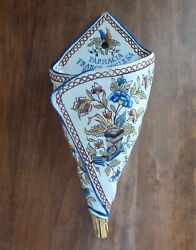 Antique Wall Pocket Flower Vase Old Faience French-english Pharmacy Bueno Aires