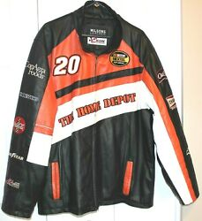 New Size Xl Authentic Nascar Tony Stewart Home Depot Embroidered Leather Jacket