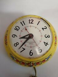 Vintage General Electric Ge Telechron Wall Clock Yellow Floral Norwegian