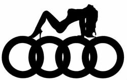 Audi Logo W/ Girl Vinyl Decals-bogo-colors Incl. Chrome And Frosted Glass