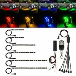 6x Motorcycle Led Lights Wireless Remote 18 Color Neon Glow Light Strips Kit T-