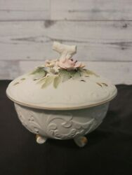 Lefton China Kw 3781 Hand Painted Floral Footed Bowl Trinket Dish With Lid