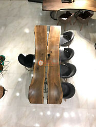 Clear Resin River Dining Custom Table Top Wooden Live Edge Art Traditional Deco