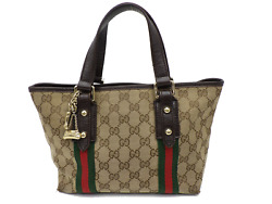 AUTH GUCCI GG Pattern Sherry Shoulder Tote Bag Canvas Leather charm A 1691 $198.00