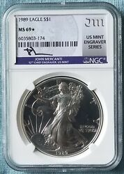 1989 American Silver Eagle Ngc Ms69 Star Mercanti Signed Off The Charts Rare