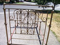 Antique Beautiful Antique Brass Bed Full Size As-is