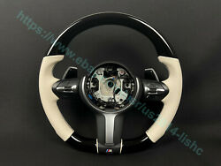 Bmw F15 F30 M Style Steering Wheel Piano Black White Leather Paddle Shifts