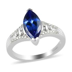 14k White Gold Aaa Blue Tanzanite Diamond Ring Size 7 Ct 3.1 H Color I3 Clarity