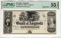 1840's 2 Bank Of Augusta Georgia Obsolete Remainder Note Pmg About Unc 55 Epq