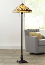 Style Floor Lamp Bronze Mission Stained Glass For Living Room Reading