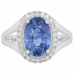 Signature 3.38 Ct Oval Sapphire And Diamond Halo Ring In 14kt White Gold